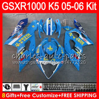 Wholesale Gsx K5 - 8 Gifts 23 Colors Bodywork For SUZUKI GSXR1000 05 06 GSXR-1000 12HM46 GSX-R1000 glossy blue K5 GSXR 1000 2005 2006 05 06 Fairing Kit Body