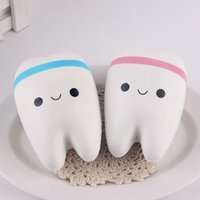 Wholesale Phone For Old - Wholesale- New 11cm Kawaii Tooth Jumbo Squishy Slow Rising Phone Straps Cartoon Teeth Blue Pink Tooth Bread for Phone Mp3 Bag Charm Strap