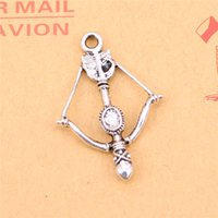 Wholesale Crossbow Charms - 60pcs Tibetan Silver Plated crossbow bow Charms Pendants for Jewelry Making DIY Handmade Craft 20mm