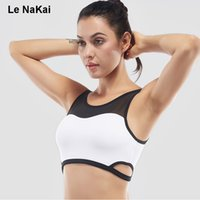 Al por mayor-Cortar Mesh Volver Sexy Mujeres sujetador deportivo Fitness High Support Wirefree a prueba de golpes Yoga Crop Top Active Sports Underwear