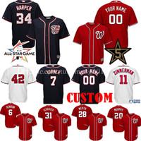 Wholesale National Customs - Custom Washington Nationals 34 Bryce Harper 7 Trea Turner Baseball Jerseys Max Scherzer Zimmerman 20 Murphy Rendon Strasburg All Star Jersey