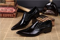 Wholesale Korean Oxford Shoes - High Quality Men Pointed Toe Leather Dress Shoes Black Groom Wedding Formal Shoes Korean Style Genuine Leather Men Oxfords Busines Shoes