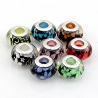 MIC 14mm Mixed Color Tree Glue Beads 5mm Big Hole Bead fit pulseira de grânulo europeu 100PCS Flower Spaced Beads DIY jóias