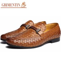 Wholesale Comfortable Mens Black Dress Shoes - GRIMENTIN Hot sale Fashion braided mens formal shoes loafers genuine leather comfortable brown black Italian men shoes size:38-46 2OX999