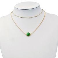 opaler grüner stein großhandel-Europa und die Vereinigten Staaten halskette Kristall Doppelschicht Gold Farbe Choker Halskette Grün / Rosa Runde Opal Stein Anhänger Halsketten Einfache
