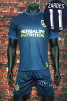 Wholesale Galaxy Uniforms - 2017 2018 LA Galaxy Away Soccer Sets Men's Thai Quality Short Sleeve Soccer Jerseys 17 18 JONES ZARDES Galaxy Football Sets Uniforms