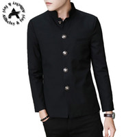Wholesale Black Tunic Men - Wholesale- 2016 High Quality Men's Black Chinese Tunic Suit Mens Blazers Mens Blazers Long Sleeve Suit Jacket Blazer Jackets