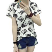 Wholesale Summer Cartoon Tops For Ladies - Wholesale-Harajuku 2016 Summer Top New Fashion T-shirt for Women Girls Kawaii Cartoon Cat Printed Ladies Short Sleeve Female T-shirt Tops