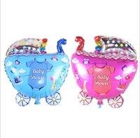 Wholesale Large Baby Boy Balloons - Large Baby Shower Ballons 65*42cm Baby Stroller Baby Boy Girl Foil Balloons inflatable Classic Toys Birthday Party Decorations Kids