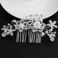 Wholesale Metal Crystal Hair Clip - Crystal Rhinestone Flower Wedding Party Bridal Hair Comb Hairpin Clip Jewelry
