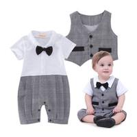 Wholesale Bodysuits Gentleman - Plaid baby boys gentleman short sleeves Vest waistcoat Rompers For Babies Bodysuits bow kids One Piece Clothing Newborn Jumpsuit Lovekiss A3