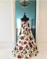 Wholesale Natural Waist Ball Gowns - Hot New 2017 Sweetheart Red Roses Print Natural Waist Custom made Ball Gown Prom Dresses