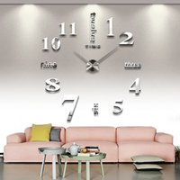 Wholesale Diy Modern Wall Clocks - New DIY 3D Home Decoration Wall Clock Big Mirror Clock Modern Design,Large Size Wall Clocks DIY Wall Sticker Unique Gift for Kids