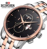 Svizzera Genuine Binger 6 Mani Date Day 24 Ore Visualizza Orologi Man Cassa in acciaio inox Gold Silver Wrist Men Sport Quartz Watch