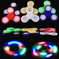 Wholesale Switch Plastic Off - EDC Rainbow Fidget Spinner LED Fidget Tri Spinners Toys 3 Modes Luminous Light Hand Spinner with Switch ON OFF by DHL OTH384