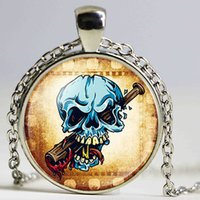 Wholesale Long Tooth Necklace - Blue Color Skull Head Tooth Stick Picture Statement Long Chain Necklace For Men Glass Cabochon Handmade Round Pendant Necklace