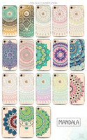 Wholesale Iphone Case Gel Flower - Henna White Floral Paisley Flower Mandala Printing Painting Phone Soft TPU Gel Clear Transparent Case For iPhone 5 5S SE 6 6S 7 Plus iPhone7