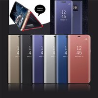 Wholesale mirror light covers - For Samsung Galaxy A8 2018 S9 Plus S8 Note8 2017 J3 J5 J7 J330 J530 J730 Flip Smart leather wallet Chrome Mirror view stand cover case 1pcs