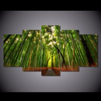 ingrosso tela di olio di bambù-5 Pz / set Incorniciato HD Stampato Foresta Bamboo Path Paesaggio Immagine Wall Art Canvas Print Decor Poster Canvas Modern Oil Painting