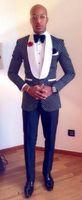 Wholesale Mens Dinner Suits - Navy Blue Polka Dot Wedding Tuxedos Shawl Lapel Mens Suits Prom Dinner Suit Slim Tuxedo Jacket Custom Made Men Blazers (Jacket+Pant+Bow Tie)