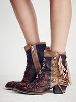 saçak paçalı ayak bileği botları toptan satış-2017 Nakış Ayakkabı Kadın Kış Güz ile Saçaklar püskül Deri retro Kadın Ayak Bileği Boots motosikletler Botas Fashions Martin Patik mujer