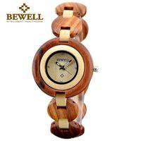 Wholesale Elegant Wooden - BEWELL Fashion Ladies Watch Women Round Dial Wrist-watch Female Elegant Quartz Watches for Woman Wooden Wristwatch Relogio Feminino 010A