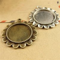 Wholesale Round Cabochon Settings Wholesale Bulk - 40pcs 20MM Antique Bronze round cameo cabochon setting, vintage metal stamping blanks, retro bulk DIY pendant tray bezel base