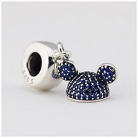 Wholesale jewellery making accessories - Authentic Sterling Silver Sparkling Blue CZ Pave Ear Hat Dangle Beads for Jewelry Making Fits Women Diy Jewellery Bracelets Accessories