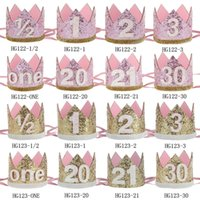 Wholesale First Faces - New coming Princess party photo prop headband Brithday Crown Headband First Sparkle Birthday Headband 24Pcs lot