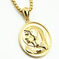 Wholesale Hip Ornaments - Foreign trade jewelry Virgin Mary necklace Europe and the United States alloy fashion beauty head pendant ornaments hip-hop clavicle chain