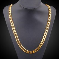 Wholesale Real Coral Necklaces - Vintage Long Gold Chain For Men Chain Necklace Brand New TrendReal Gold Plated Thick 18k 9.5mm Real Gold Plated Thick Bohemian Jewelry Y#149