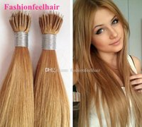 "Wholesale Wholesaler Bonding Hair Pieces - Fast Shipping 18""-28"" Brazilian Hair Natural Nano Ring Hair Extension Unprocessed Virgin Brazilian Hair 1b# Indian Hair black"