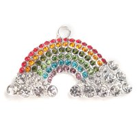 Wholesale Rainbow Chunky Necklace - Wholesale- Pretty Rhinestone Rainbow Pendant Chunky Beads Pendant 1PC for DIY Necklace Kids Party Favor 51*30mm