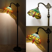 Wholesale Living Room Baroque Style - Vintage Style Tiffany Floor Lamp Stained Glass Dragonfly Baroque Fishing Stand Lampe Living Room Hotel Bar Decor Light Fixture