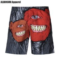 ALMOSUN Retro Monster Smile 3D All Over Print Shorts Новинка Fashion Summer Beach Hip Hop Dancer Мужчины Женщины Шорты