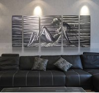 paneles hechos a mano al por mayor-Abstract Alumimum Metal Wall Art Painting 100% Handmade Polished Sexy Lady 5 paneles para la decoración del hogar