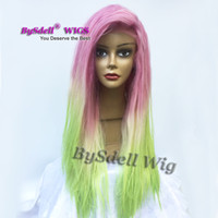 Wholesale Neon Hair Wigs - New Jessica Rabbit Hairstyle Cosplay Wig Mermaid Rainbow Hair Wig Synthetic Purple Pink Ombre Blonde T Neon Yellow Color Full Lace Front Wig
