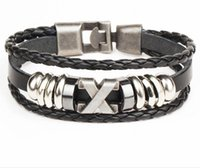 Wholesale Multi Layer Bracelet Woven - Men's multi-layer woven couple leather Bracelet X letter stainless steel boat anchor Jay Chou with the same Bracelet Free Shipping