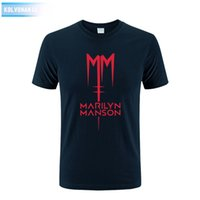 Wholesale Short Dresses Large Sizes - 2017 Marilyn Manson Logo Fashion Printed Mens T Shirt Short Sleeve O Neck Cotton T-Shirt Top Tee Camisetas Park Large Size Dress