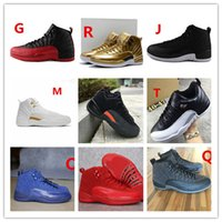 Wholesale Nylons Online - hot air retro 12 mens basketball shoes wool mens sneaker Black Nylon Blue Suede discount shoes flu game french blue sports shoes online