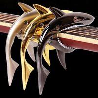 Wholesale Acoustic Capo - Acoustic Electric Classic Guitar capo Accessories Sharks Folk Guitar Capo Acoustic Wooden Guitar Capo Sound Clip
