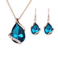Wholesale Wholesale Indian Bridal Necklace Set - 9Sets Brand New Fashion Women Bridal Wedding Jewelry Sets Charm Crystal Water Drop Earrings Sets Pendant Necklaces 9 Colors