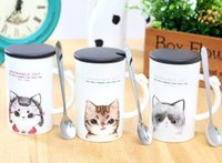 Wholesale Wholesale Free Delivery China - Wholesale- 2017 new style free delivery Meng kitten creative ceramic cup cute cartoon coffee cup with covered spoon mug