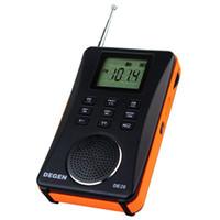 Wholesale fashion digital mp3 player online - Degen DE26 Dynamic fashion Stereo FM radio MW SW DSP Digital Receiver fm usb radio with MP3 card Player Full Band portable radio