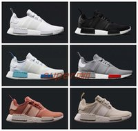 Wholesale NMD Runner R1 Mesh Triple White Cream Salmon City Paclk Men Women Running Shoes Sneakers Original NMDs Runer Primeknit Sports Shoes