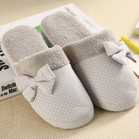 Wholesale Ladies Canvas Shoes Wholesale - Wholesale- New Promotion Winter Women Warm Indoor Slipper Ladies Casual Dot Dot Bowknot Home House Floor Antiskid Shoe Slippers Pantuflas