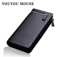 Wholesale Mouse Note Holder - Wholesale- YOUYOU MOUSE Fashion Men Brand Design Leather Wallets Business Long Zipper Purse Honorable Clutch Coin Bag In Bag