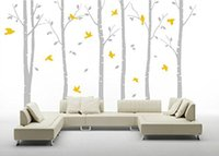 Wholesale Tree Birds Wall Decor - Wholesale 6pcs Removable Waterproof Birch Tree Flying Birds Wall Decor for Baby Nursery PVC Wall Stickers Living Room Decals TV Backgounrd