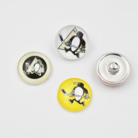 Wholesale Newest Pittsburgh Penguins Snap Buttons mm Glass NHL Sports Snap Charms Fit For Ginger Snap Jewelry