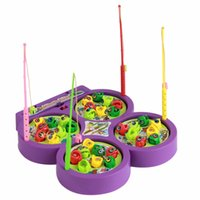 Wholesale Electric Music Rotating - Wholesale-1 PC Baby Toys Rotating Magnetic Music Electric Fish Pond Game Set Fishing Rod Educational Toys Color Random